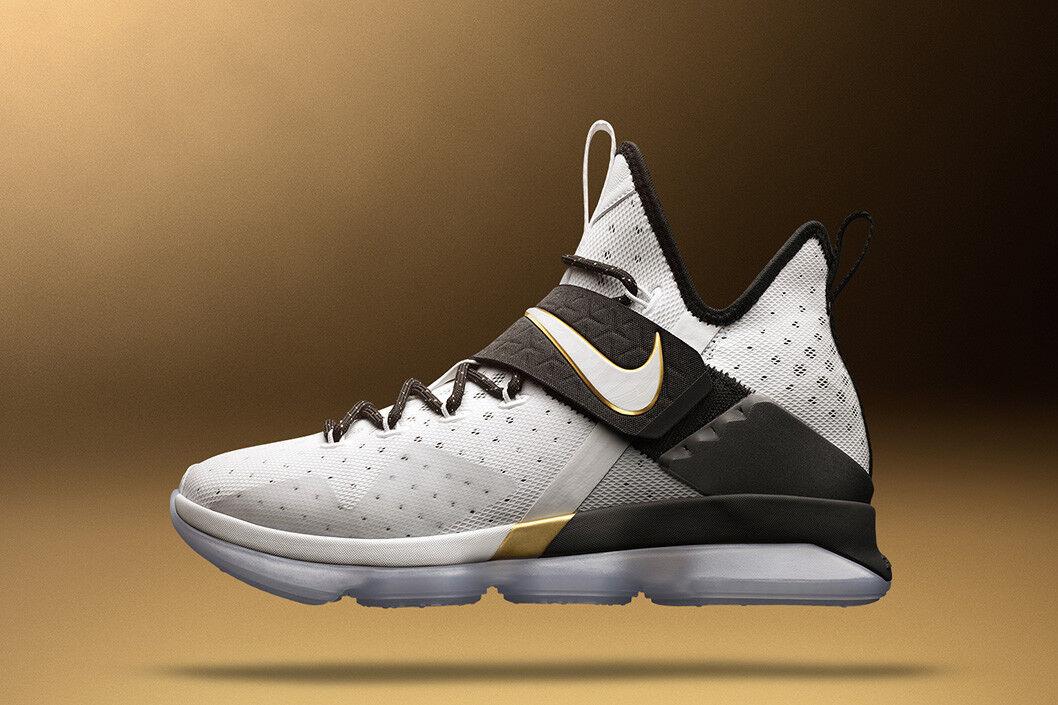 Nike LeBron 14 XIV BHM White OLYMPIC gold Black 860634-100 MVP Cavs Finals sz 9