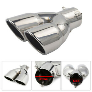 Car Exhaust Tip Tail Pipe With Stainless Steel Dual 63mm //2.5in As Car Accessory