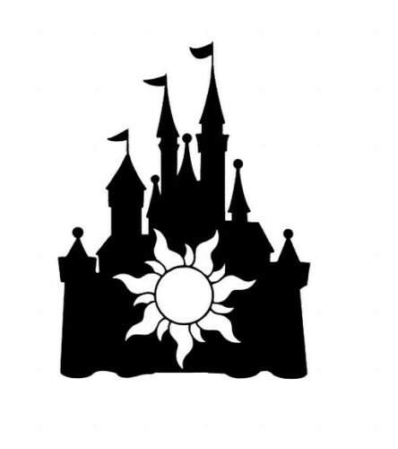 Custom Vinyl Decal Run Disney Castle Tangled Sun Rapunzel