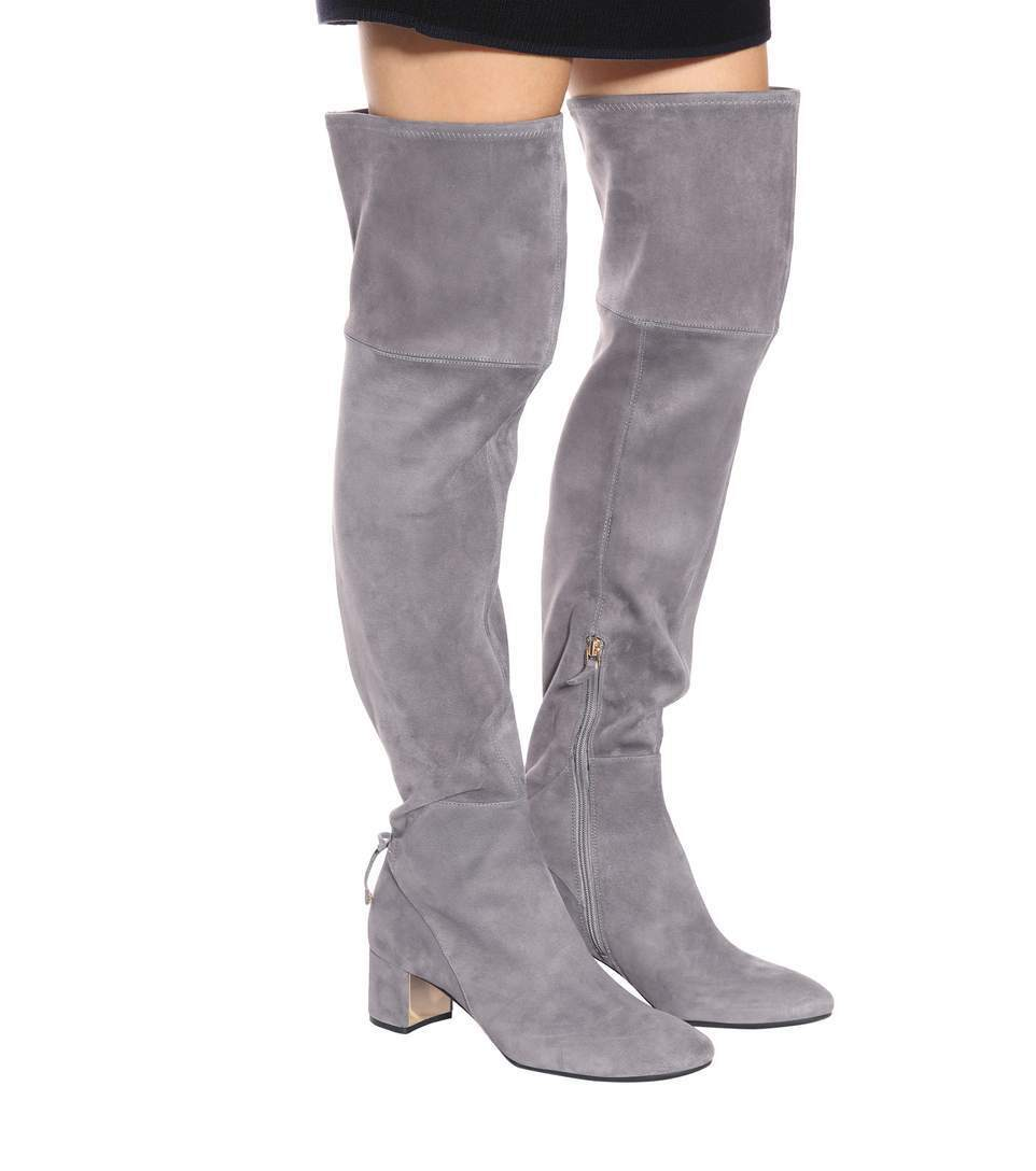 $650 New TORY BURCH Over The Knee LAILA OTK Grey Carbon STRETCH Suede Boots  9.5