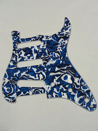 D/'ANDREA PRO STRATOCASTER PICKGUARD S//S//S 11 HOLE BLUE SWIRL PEARLOID USA MADE