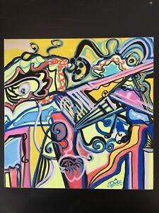 tableau-cubiste-abstrait-signe-original