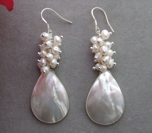 KE012216 White Pearl Shell Earrings-Sterling Silver