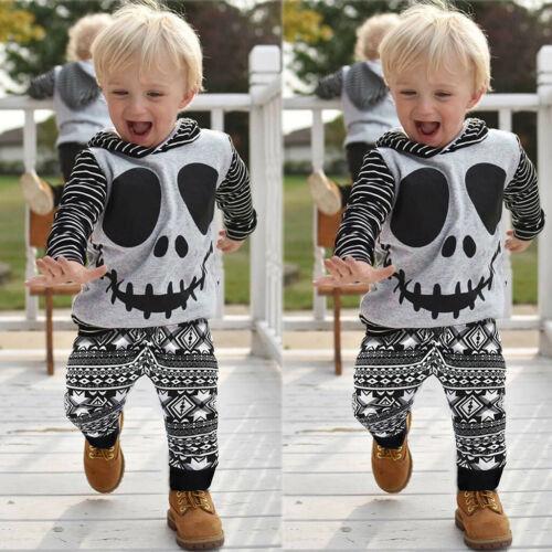 Newborn Baby Halloween Skull/&Striped Print Hoodie Shirt Tops+Long Pants Outfits