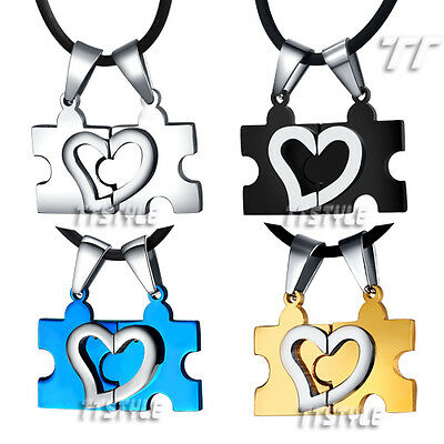 TTstyle Stainless Steel Love Heart Puzzle Pendant For Couple Two Free Chains