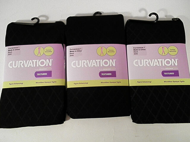 Curvation textured plus size opaque tights black CHOOSE SIZE tummy smoother