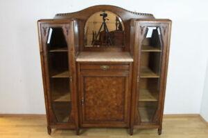 Details zu Art Deco Vitrinenschrank Anrichte Eiche Massivholz Esszimmer  Antik Möbel Salon