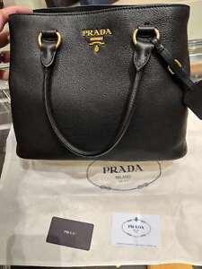 8f69969b15a0 Image is loading Prada-Vitello-Phenix-Leather-Convertible-Bag-Black