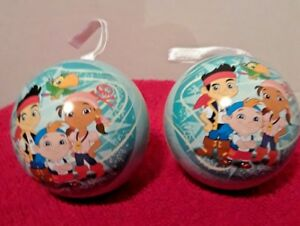 Disney-Jake-and-the-Never-land-pirates-Christmas-Ornament-lot-of-2-fillable-tin