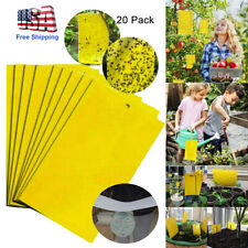 20Pcs Sticky Fly Trap Paper Yellow Traps Fruit Flies Insect Glue Catcher