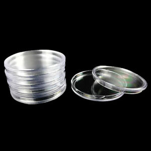 10Pcs 40mm Clear Round Cases Coin Storage Box Capsules Container Collection
