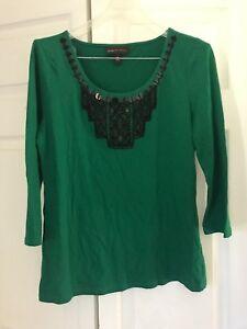 184f9ea40c1a4 Image is loading Dana-Buchman-Top-Shirt-Medium-Green-Beaded-3-
