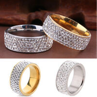Couple Stainless Steel Gold Silver Crystal Ring Men Women Wedding Band Rings New