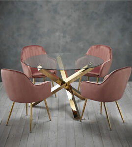 Swell Details About Dining Set Round Glass Table With Gold Legs And 4 Pink Velvet Dining Chairs Dailytribune Chair Design For Home Dailytribuneorg