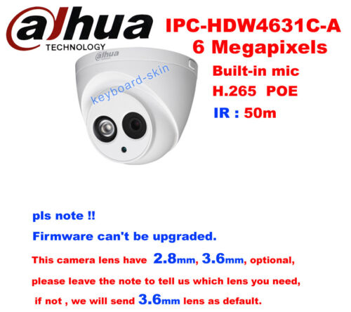 Dahua IPC-HDW4631C-A 6MP 50M IR Support PoE Built-in Mic Network Dome IP Camera