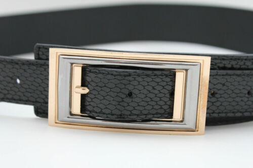 Schlangenhaut Leder Groß Retro Gold Schnalle Schwarz Modischer Gürtel Kunst