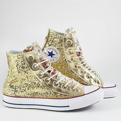 converse all star bianche con glitter oro e pelle color cipria e linguetta fiora | eBay