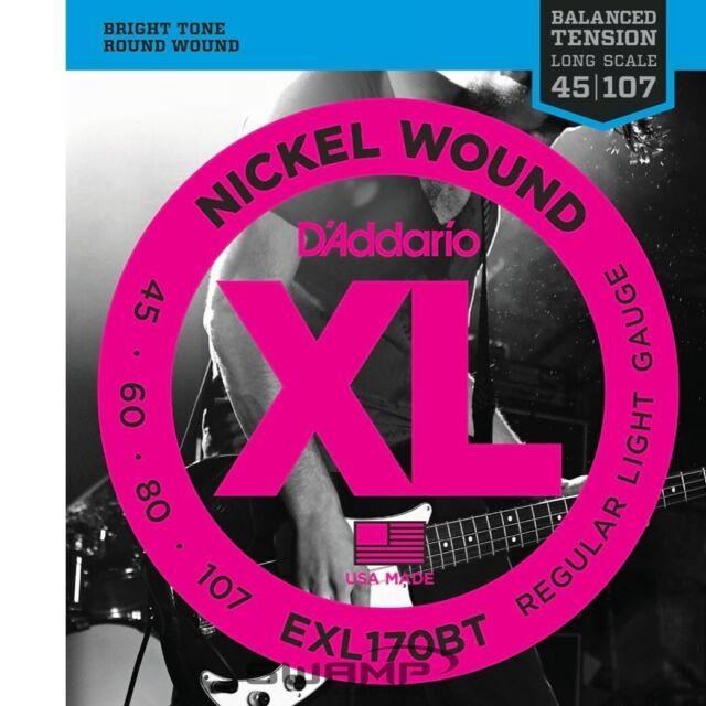 D'Addario EXL170BT Balanced Tension Electric Bass Guitar Strings - Regular Light