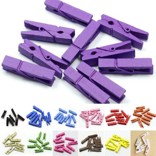 20-100 Mini Wooden Craft Pegs 35mm choose colour JDUK Photo Clips