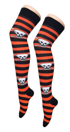 Girls Ladies Over Knee Pumpkin Rock Skull Skeleton Halloween Socks thigh 4-7