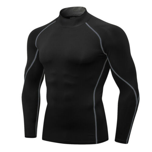 Men/'s Compression Mock T-Shirt Cool Dry Baselayer Moisture Wicking Long-Sleeved
