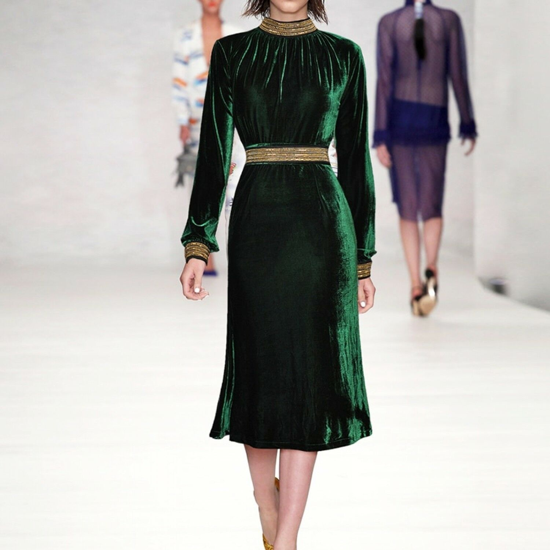 62293d0aac89 2019 di alta qualità nuova delle donne alla moda Inspired Velluto Invernale  Designer Abito nnhqyi4096-Vestiti