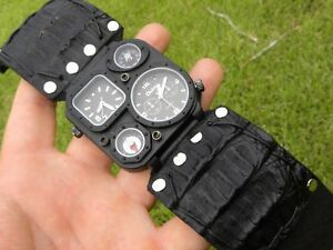 Men-Rock-star-Watch-genuine-Alligator-Bison-Leather-wristband-cuff-bracelet