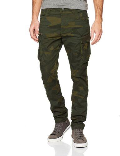 Jack /& Jones Mens Cargo Pants Slim Fit Black Army Camo Green military Trousers