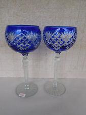 1  Crystal Legends by Godinger Colbalt Blue Romanian Stem Wine Glass