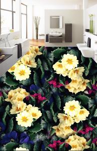3D Papel de Parojo de suelo Flores Brillante 844 Impresión De Parojo Murales AJ Wallpaper Reino Unido Limón