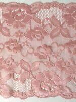 "laverslace - Beautiful Dusky Pink Wide Stretch Lace Trim 7""/17.5 cm"