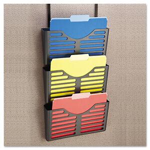 UNIVERSAL-Recycled-Plastic-Cubicle-Triple-File-Pocket-Black-08163