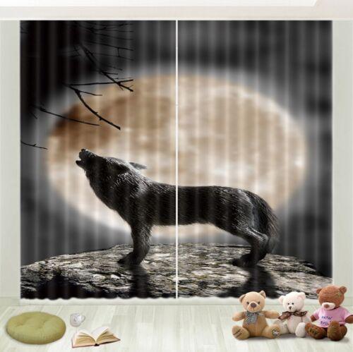 3D Blockout Window Curtain-Wolf Howling Moon Rock Scenic-Fabric Home Decor Drape
