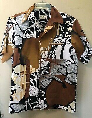 Colto Da Uomo M Vintage Malihini Hawaii Camicia Hawaiana Salotto Nero Marrone