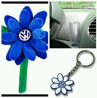 Volkswagen Beetle Blue Vw Logo Daisy Flower 1- Key Chain & Clear Vase