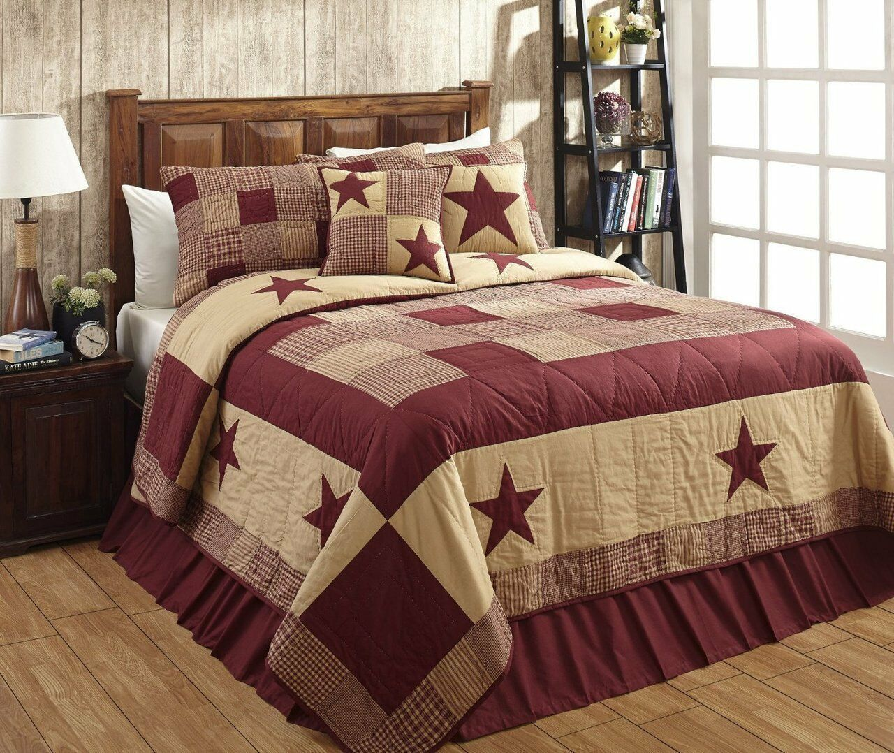 3pc Olivia's Heartland country star Jamestown Burgundy hand quilted QUILT  Shams