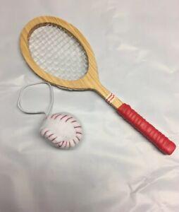 3.5 inch by Kurt Adler Tennis Racquet and Fuzzy Yellow Ball Ornament