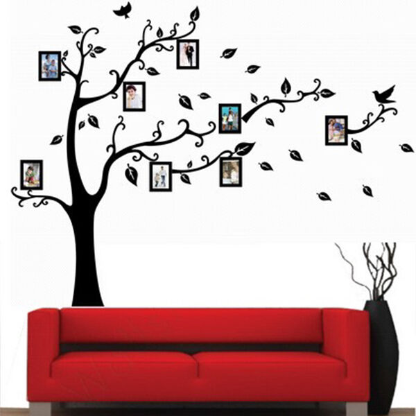 Virtul Photo Frame Black Tree Removable Decal Room Wall Sticker Home Decor