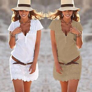 Las-mujeres-verano-manga-corta-mini-vestido-de-encaje-de-fiesta-en-la-playa-DC