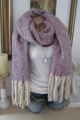 XXL inverno foulard sciarpa di svolta Scialle con frange stola ROSA-LILLA-GRIGIO Melliert