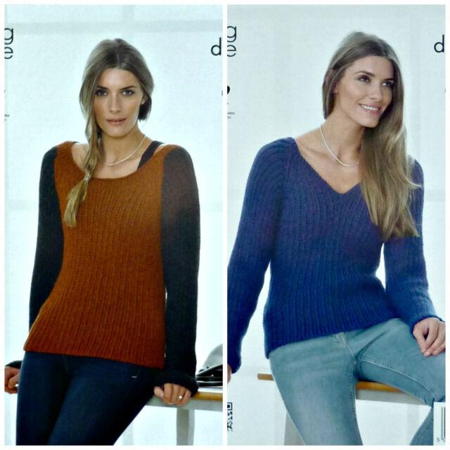 Knitting Pattern Ladies Long Sleeve Deep Scoop Neck Jumper Dk King
