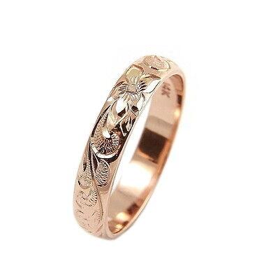 14K Solide Or Rose Fantaisie Hawaïen Plumeria Fleur Lei Ring 6.5 mm