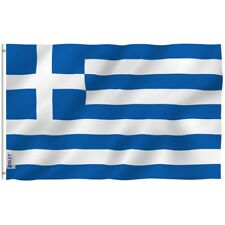 Lot of 12-4x6 Inch Greek Greece Flags Desk Hand Held Stick Flags US MADE