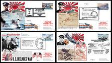 """Série 4 FDC USA """"70 ans Attaque Pearl Harbor par Japon / ROOSEVELT / WWII"""" 2011"""