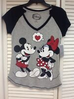 Disney, Minnie & Mickey Sleep Shirts, V-neck, Size Medium,