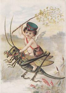 Little-eagle-winged-boy-retro-rides-grasshopper-Swedish-vintage-posted-postcard