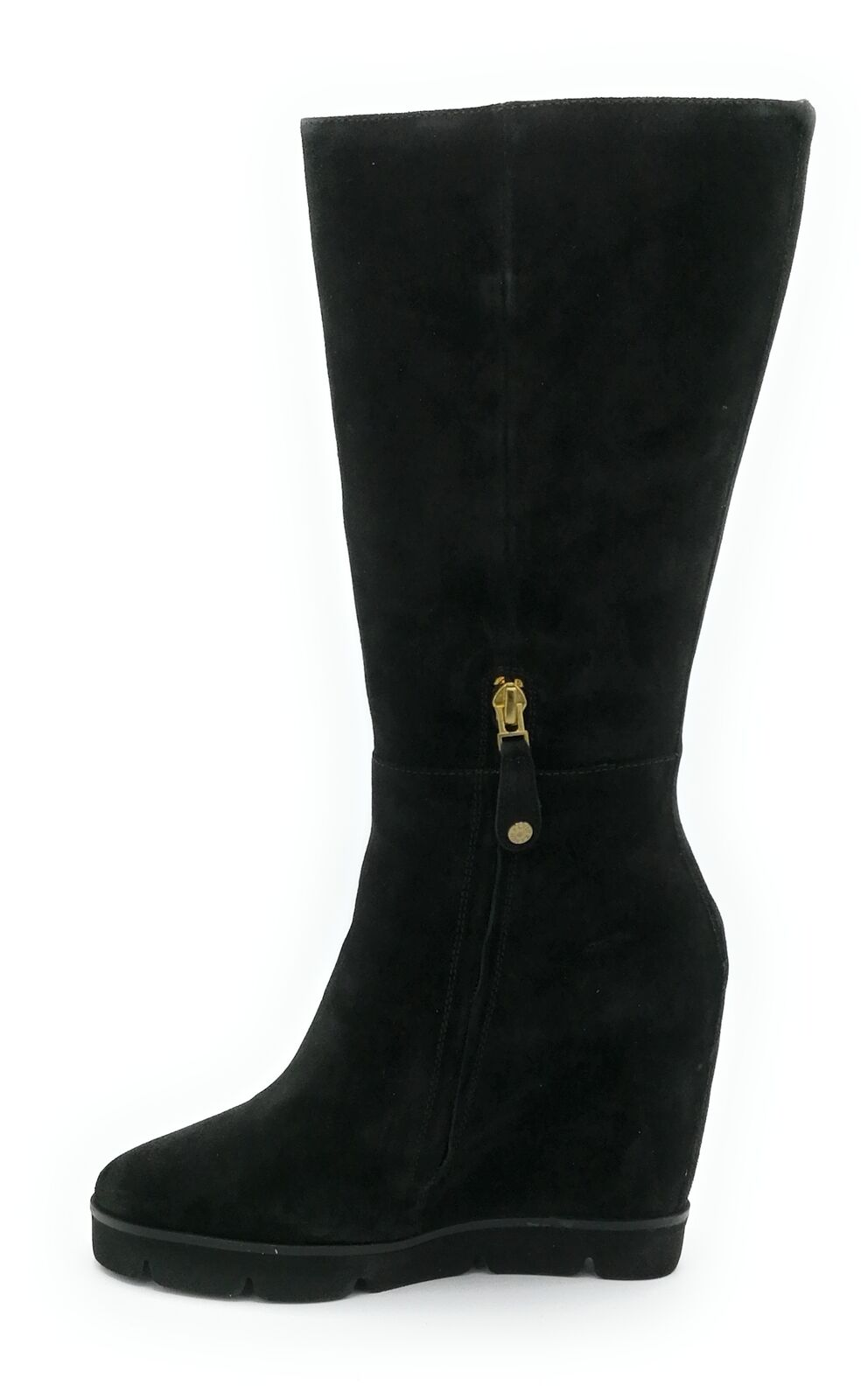 Zanon EK3305 Stiefel 3 4 Gämse Schwarz Hochkeil 10 cm Reißverschluss