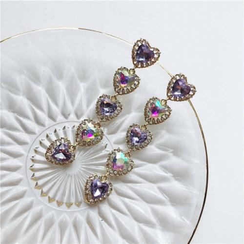 Colourful Crystal Drop Dangle Earrings Love Heart  Rhinestone Long Earrings HOT