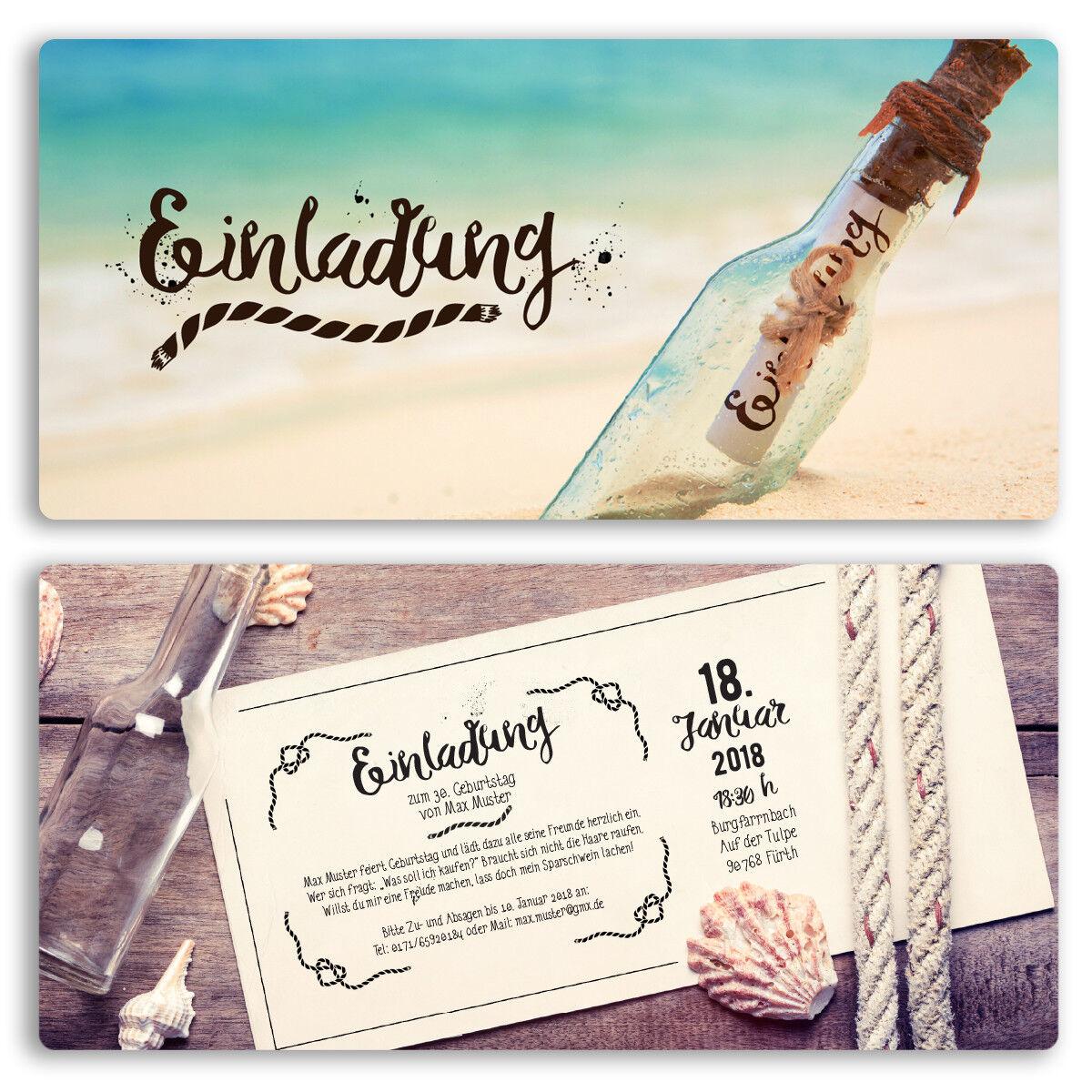 Einladungen zum Geburtstag Flaschenpost Flasche Brief Post Karte Einladung | Modernes Design  | Gutes Design