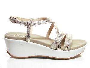 Nero Giardini P805700D sandali donna zeppa media plateau pelle platino